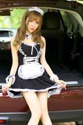 长腿巨乳少女可爱女仆装车内放肆玩捆绑