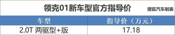 领克01 2.0T两驱型 版上市 售价17.18万元