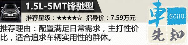 首推1.4T-CVT锋享型 吉利远景S1购车手册