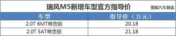 瑞风M5新增两款车型 售价20.18-21.18万元