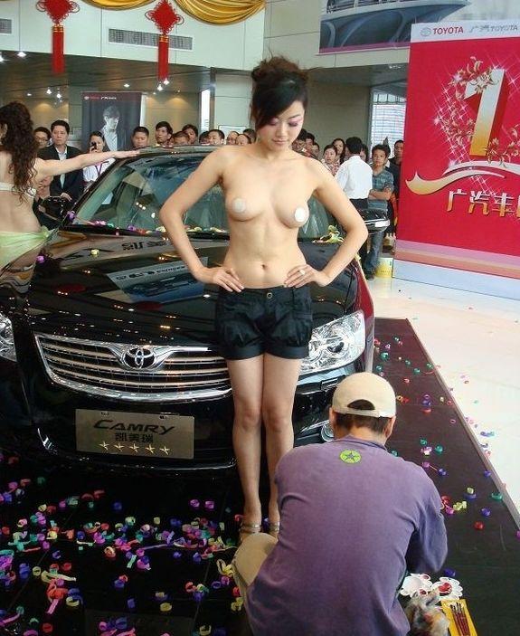 赤露青春车模美女大秀人体彩绘 其他图片