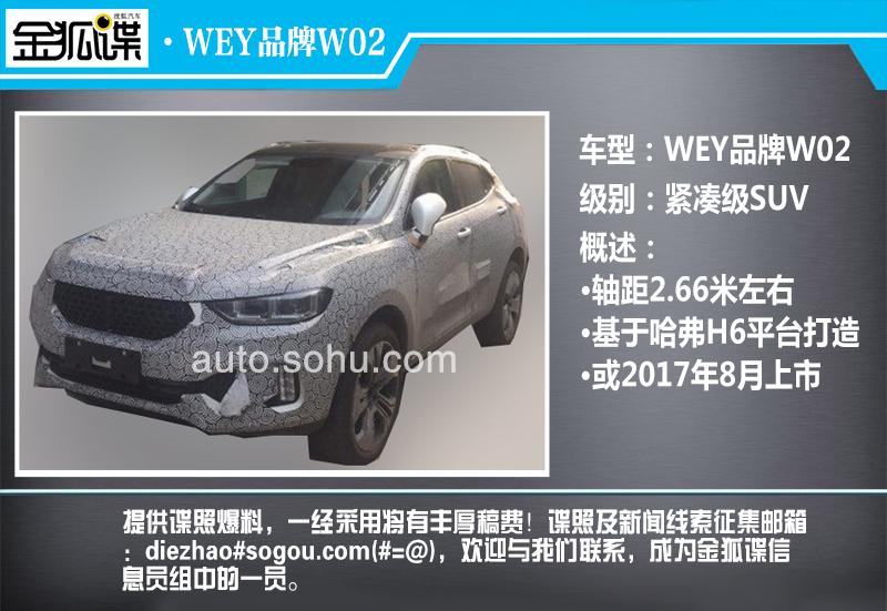 竞争合资 长城高端品牌WEY W02细节曝光高清图片