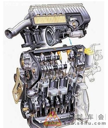 四缸涡轮发动机解剖结构图