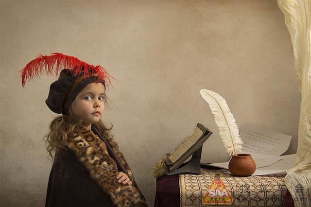 18世纪油画风格儿童人像摄影图片